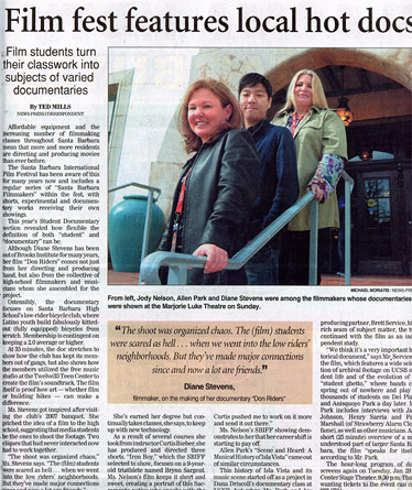 Santa Barbara Film Fest - SB News Press Article (2008)